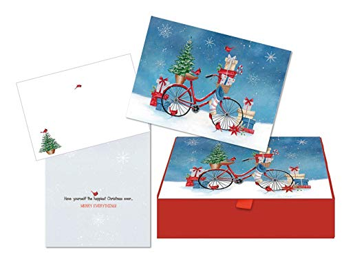 LPG PERFORMING ARTS BOXED CHRISTMAS CARDS Christmas Bike with Glitter Embellishment, Full Color Coordinating Envelopes, Beautiful Keepsake Box (14 glitter cards, 14 coordinating envelopes)