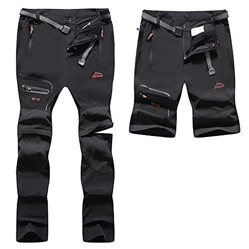 BenBoy Pantaloni Trekking Uomo Impermeabili Pantaloni da Lavoro Zip off Convertibile Pantaloncini Traspirante Asciugatura Rapida Leggero Pantaloni da Montagna Caccia KZ2346M-Black-M