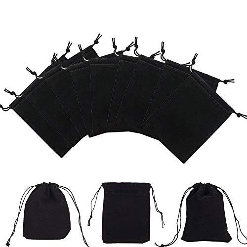 Grneric 24 Piezas Bolsas de Terciopelo para Joyas Negro Bols