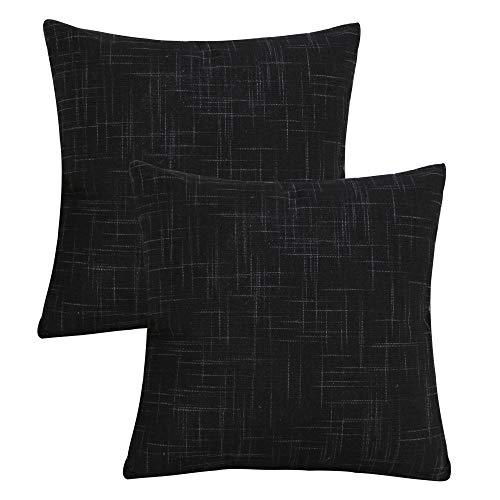 Gonove - Juego de 2 Fundas de cojín cuadradas de Lino y algodón, 45 x 45 cm, Fundas de Almohada Decorativas para sofá, decoración del hogar, Negro, 60 * 60cm