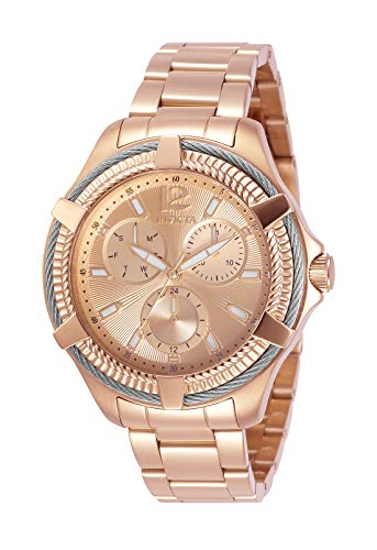 Relógio feminino de quartzo com parafuso Invicta com pulseira de aço inoxidável, ouro rosa, 18 (modelo: 30898)