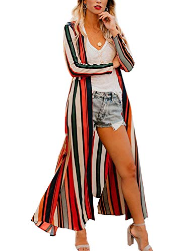 Chunoy Women's Chiffon Long Sleeve Kimono Loose Cardigan Lightweight Cover Ups