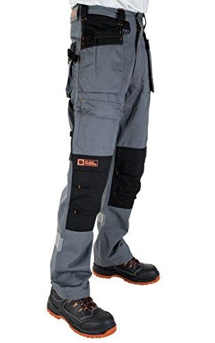 Black Hammer Arbeitshose Multi-Taschen Cargohose für schweren Gebrauch Arbeitskleidung Cordura genäht, um besonders belastete Stellen zu schützen mit Taschen für KnieschonerW34 x L30/ 79cm