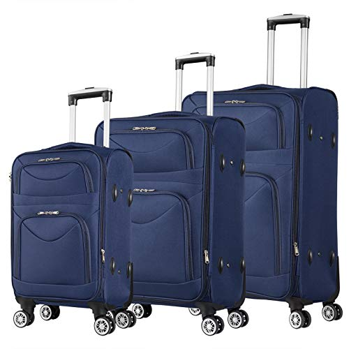 WOLTU RK4214bl, Reisekoffer Stoff 4 Rollen, Reise Koffer Trolley 1200D Oxford Weichschale, Weichgepäck Reisegepäck Handgepäck M/L/XL/Set, leicht & günstig, Blau 3er Set (M+L+XL)