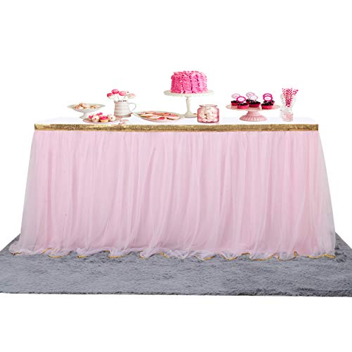 9 ft Pink Table Skirt Fluffy 2 Layers Bling Gold Trim Mesh Tutu Tulle Table Skirt for Rectangle or Round Tables Baby Shower Wedding Birthday Party Decorations (Pink/Gold, 9 ft)