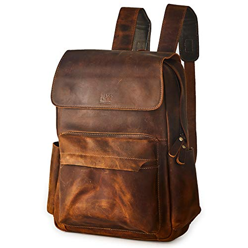 BRASS TACKS Leathercraft Zaino da uomo vintage fatto a mano in vera pelle di cavallo pazzo, borsa da libro da 15,6 pollici borsa per laptop