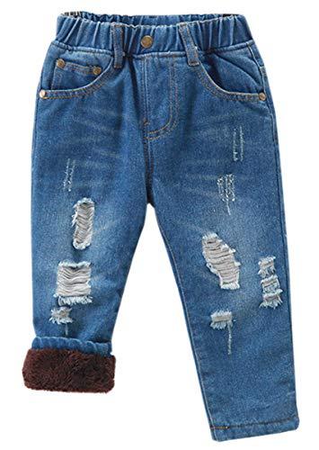 QZH.DUAO Unisex Kids Boys Girls Elastic Waist Ripped Fleece Lined Denim Pants Jeans, Blue Fleece Lined, US 6T