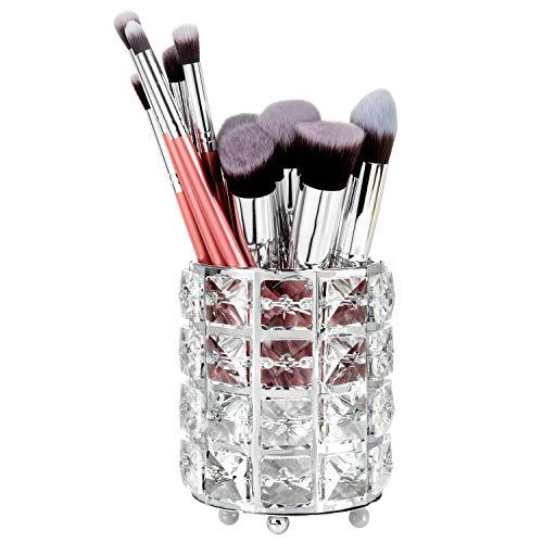 WolinTek Maquillage Sourcils Brosse Titulaire, Cristal Maquillage Brosse Organisateur Titulaire De Stockage De Seau Crayon À Sourcils Stylo Tasse Outils Conteneur (Argent)