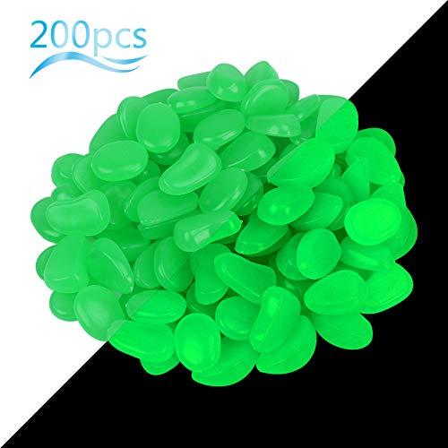 ZoomSky 200 Stücke Bunt Leuchtsteine, Dunkeln leuchtende Kieselsteine Leuchtkiesel Floureszierende Pebble Steine für Halloween Aquarium Garten Flur Kinderzimmer Dekoration (200Stk Grüner Leuchtstein)