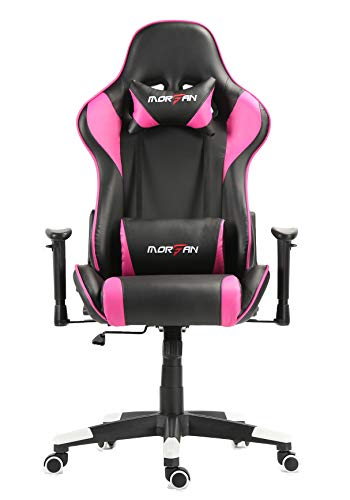 Morfan Massage and Rocking Function for Gaming Ergonomic E-Sports Racing Style Chair (Rose red)