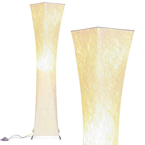 Brightech Harmony LED Floor Lamp for Living Rooms & Bedrooms – Mid Century Modern Minimalist, Ambient Light – Perfect for Beside The Bed or Office, Corner Lamp – White Shade