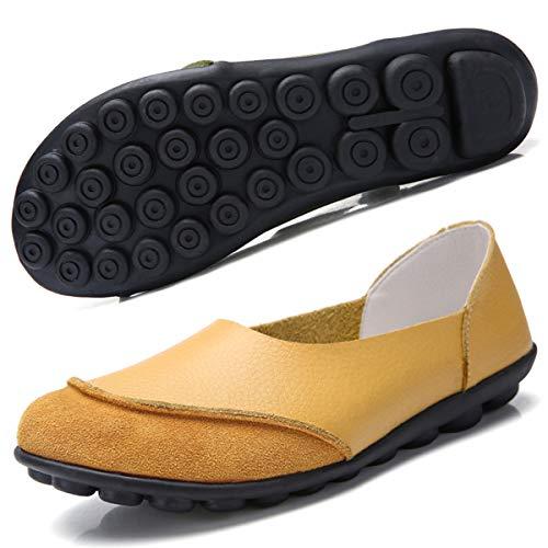 Hishoes Damen Mokassin Bootsschuhe Leder Loafers Fahren Flache Schuhe Halbschuhe Slippers Erbsenschuhe , Gelb, 40 EU (Herstellergröße 250)