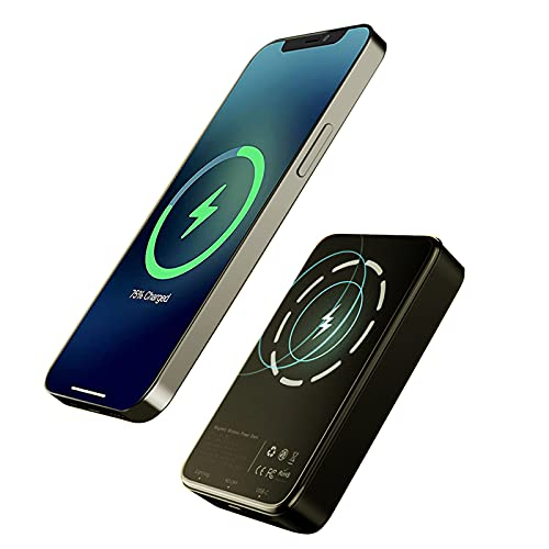 Magnetic Wireless Charger Power Bank, 5000mAh 15W Fast Portable Wireless Charger 20W USB C Quick Charging External Battery for iPhone 12/12Pro/12Pro Max/12 Mini (Black)