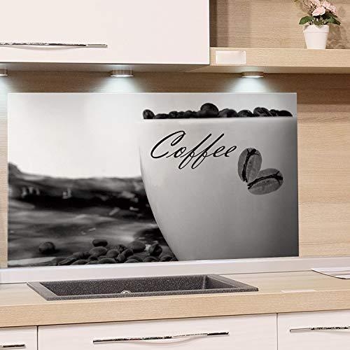GRAZDesign Spritzschutz Küche Herd Coffee - Wandpaneele Kaffeetasse - Küchenrückwand Glas Schwarz/Weiß / 100x60cm