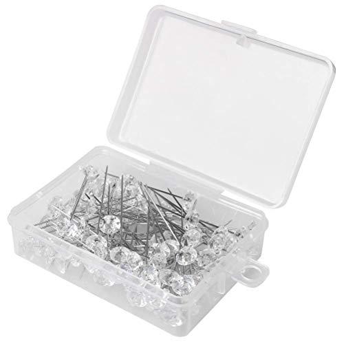 100 piezas de alfileres transparentes para ramilletes con forma de diamante, alfileres para cabeza de flor, para boda, ramo de pelo trenzado, alfileres de cristal, florales