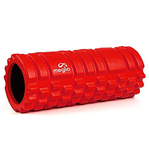 meglio Grid Faszienrolle für Muskelmassage, Ideal für Tiefe Muskelgewebsmassage, löst Muskelverspannungen und -Schmerzen, Triggerpunkt Faszienrolle mit Grid-Design für myofasziale Entspannung (Rot)