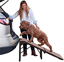 Pet Gear Free Standing Ramp for Cats and Dogs. Great for SUV's or use Next to your Bed. 4 Models to Choose from, Supports 200-300 lbs, Lightweight Easy-Fold Design, supertraX - Up to 300 pounds