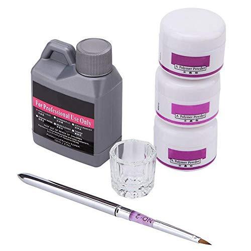su-xuri Kit D'outils pour Nail Art Portable Ensemble De Plat De Stylo Liquide en Poudre De Cristal Transparent Rose Blanc pour Le Soin Quotidien des Ongles
