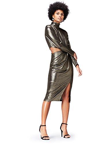 Marchio Amazon - find. Vestito con Collo Alto e Cut-Out Donna, Oro (Gold), 42, Label: S