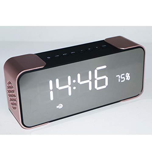 Y-SOUNDD Bluetooth-Lautsprecher Mit Wecker,Kabellose Subwoofer Am Bett Unterstützen TF-Karten, AUX, MP3-Musik, FM-Radio Mit USB-Aufladung,Pink