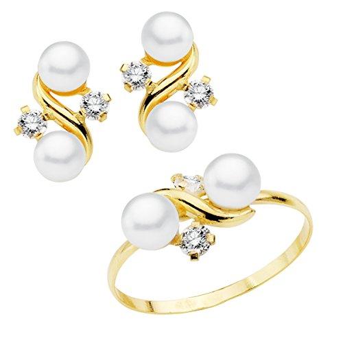 Iyé Biyé Jewels Conjunto niña Mujer Oro Amarillo 18 ktes 1ª Comunión Anillo y Pendientes con Perlas y circonitas