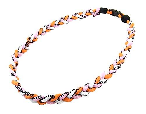 三つ編みゲルマニウムネックレス メンズ スポーツネックレス アスリートネックレス 51cm-52cm  オレンジ ピンク 白