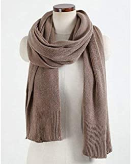 Winter Long Scarf Wool Scarf Female Winter Thick Long Solid Color Wild Winter Knit Warm Scarf Style (Color : Black) Winter Soft Scarf (Color : Khaki)