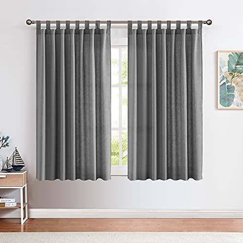 CKNY Gardinen Schlaufenschal Voile Fenster Vorhang Mit Schlaufen Halb Transparent Schlafzimmer Wohnzimmer 2 Stück 145cm x 140 cm (H x B) 2er-Set