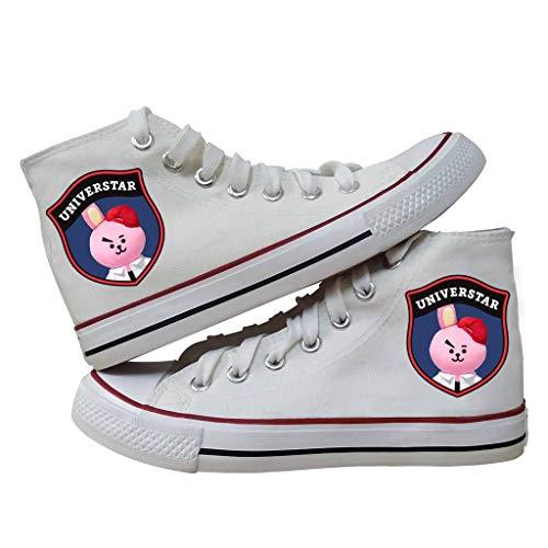 HJJ Zapatos bts BTS Classic High Top Encaje zapatos casuales Kpop Bangtan Boys 3D muñeca Imprimir Hip-hop estilo de las zapatillas de deporte Gimnasio, A.R.M.Y regalo caliente Estrellas BTS