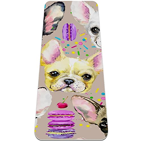 Yoga Mat with Strap,French bulldog,Extra Thick Double-Sided Non Slip,Professional TPE for Women Men,Workout Mat for Yoga,Pilates