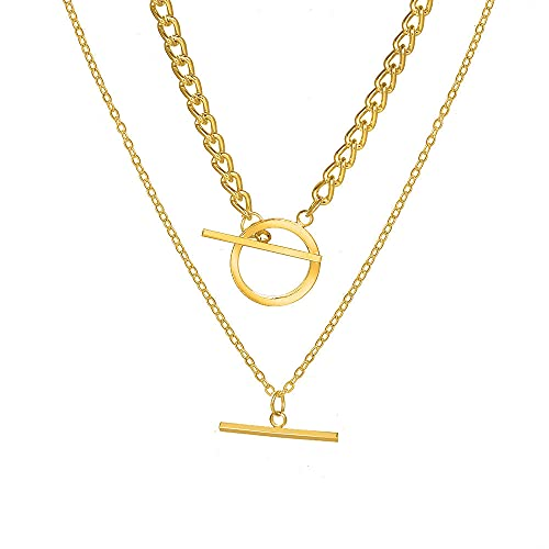 LKHJ Collar de Hebilla de OT en Capas Hembra Vintage Doble Cadena geométrica Collar Collar Collar joyería Regalo