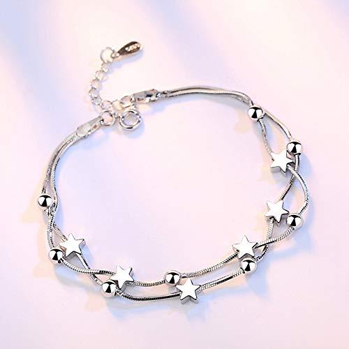 Sterling zilveren armband dames, Glamour Lady 925 sterling zilver retro meerlagige armband mode Pentagram elegante kralen ketting persoonlijkheid zilveren armband eenvoudige comfortabele partij kerst Engagem