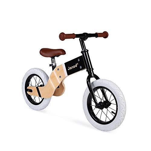 Janod J03281 Laufrad aus Holz und Metall Deluxe-Nordischer Retro-Look-Gleichgewicht und Autonomie Lernen-Einstellbarer Sattel, aufblasbare Reifen-Ab 3 Jahren