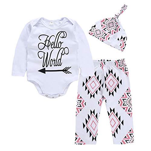 NFSQYDT Infant Baby Girl Clothes Mameluco de Manga Larga Mono Body Pantalones Conjuntos con Sombrero 3 Piezas Conjuntos 3 a 18 Meses 3 To 6 Months