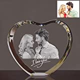 Qianruna Personalized Custom 2D Laser Engraving Etched Crystal Glass Photo Picture Heart Block,Valentine's Day, Wedding, Mother's Day, Father's Day, Graduation