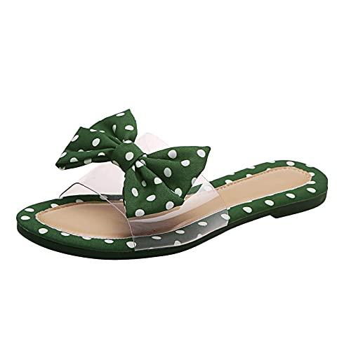 Beudylihy Sandalias de verano para mujer, sandalias con plantilla y cordones, para verano, zapatos planos, zapatos de playa abiertos, zapatillas de estar por casa, cómodas para mujer, verde, 39 EU