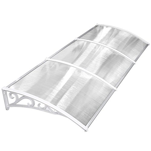 MVPOWER Marquesina para Puertas y Ventanas Tejadillo de Protección Toldo Cubierta de Policarbonato en Jardín al Aire Libre Dosel de Techo (270 * 98.5cm, blanco)