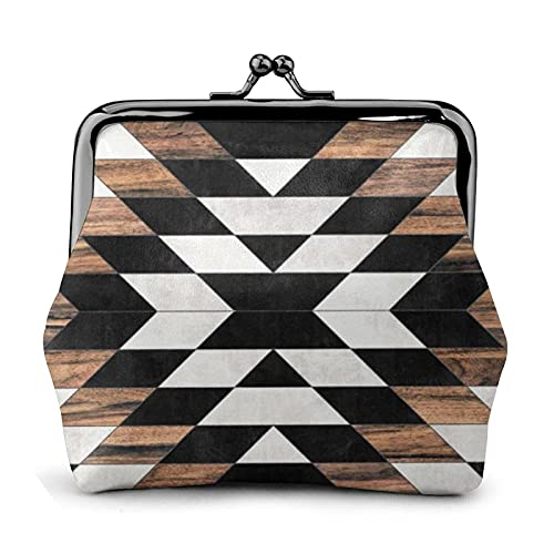 Coin Purse Wallet PU Leather Bag Urban Tribal Aztec Concrete and Wood Womens Wallet Clutch Bag Ladies Retro Vintage Print Small Hasp