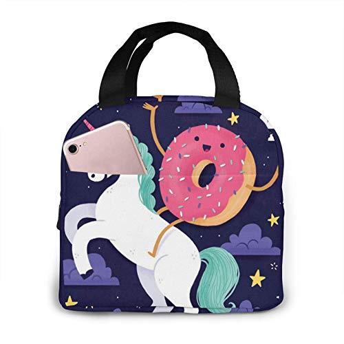 N\A Lonchera Unicornios Donut Arco Iris Aislado Almuerzo Tote Bolsa Nevera Reutilizable Lonchera
