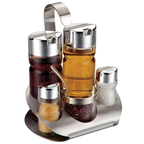 Essig & Öl Spender Pfeffer Salz Streuer Set Tischdeko Servierset inklusive Korb