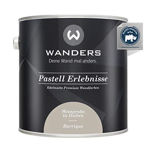 Wanders24® Pastell Erlebnisse (2,5 Liter, Barrique) edelmatte Wandfarbe - Feine Farben - in 40 Farbtönen - Wandfarbe Grau - Made in Germany