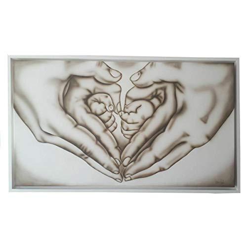 Nn Deco Arte - Cuadro con cabecero de 112 x 68 cm, Le Mani La Familia, moderno, Shabby Chic