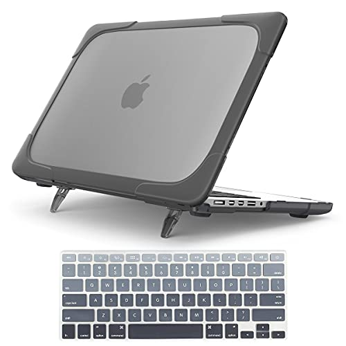 For Macbook Pro 15 Retina Case,StrongCase [Heavy Duty][Dual Layer] Hard Case Cover with Plastic Bumper for Apple Macbook Pro 15.4' with Retina Display (Compatible with A1398 2012-2015 Release) - Grey