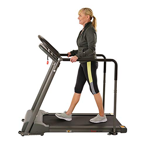 Sunny Health & Fitness Walking Treadmill with Low Wide Deck and Multi-Grip Handrails for Balance, 295 LB Max Weight - SF-T7857