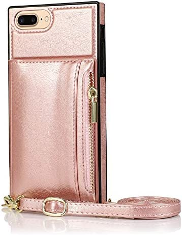 SLDiann Case for iPhone 7/8 Plus, Zipper Wallet Case with Credit Card Holder/Crossbody Long Lanyard, Shockproof Leather TPU Case Cover for iPhone iPhone 7/8 Plus (Color : Rosegold)