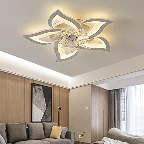 Ventiladores De Techo Iluminación Con Control Remoto Luz De Techo LED 50W Luces Colgantes Modernas 3 Colores Lámpara Fan De Pétalo Regulable Para Dormitorio Sala De Estar Habitación De Niños