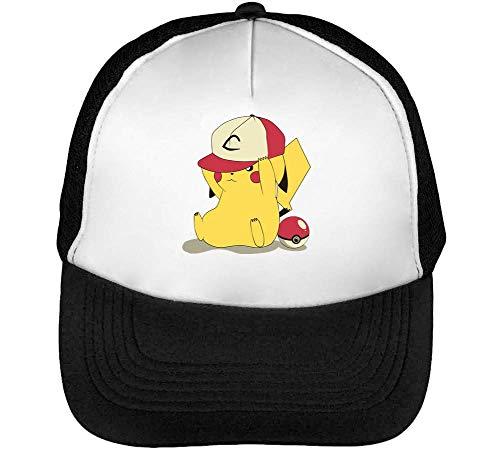 Pokemon Full Cap Funny Gorras Hombre Snapback Beisbol Negro Blanco One Size