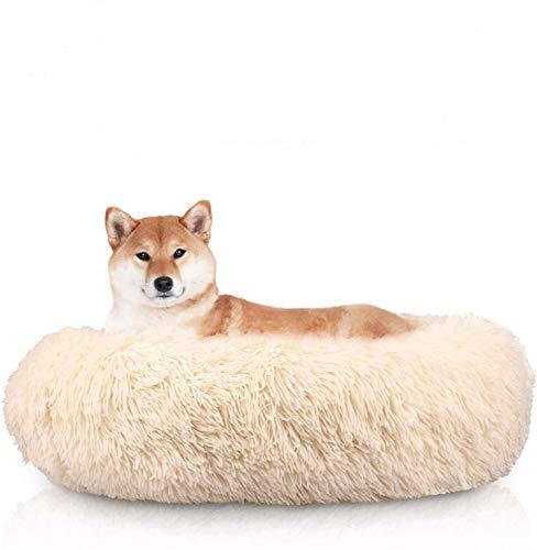 Queta Cama para Perros Gatos Mascotas, Cojín Redondo Suave de Felpa, Cama Redondo para Gatos Perros, Cama Suave Comfortable de Felpa, Beige (50x20cm)