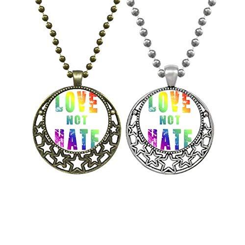 Rainbow Gay Lesbian Flag LGBT Lovers Necklaces Pendant Retro Moon Stars Jewelry