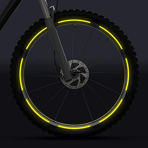 velota 3M Fahrrad Reflektoren für 26, 28 und 29 Zoll Felgen [GELB] - Selbstklebende Reflektorstreifen - 16 reflektierende Streifen im Set